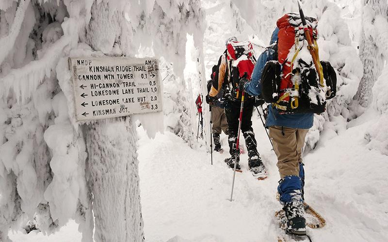 Blue-blazed snowshoe hikes