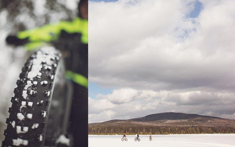 Fat Biking in Winter maine woods