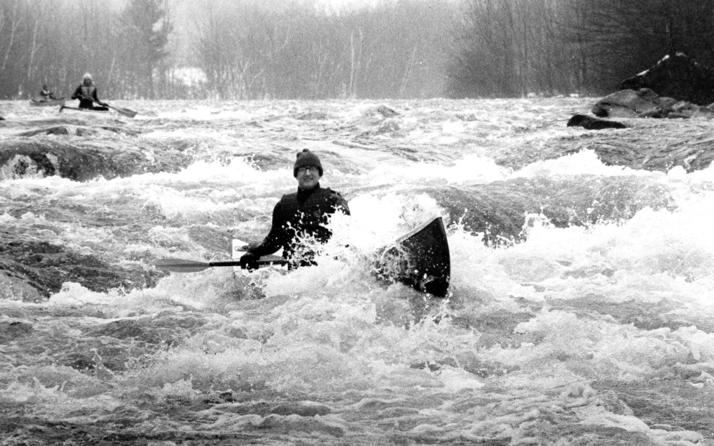 Al Pindar paddling Deerfield River at Zoar Gap_March-13-1978_photo by Debbie Arnold