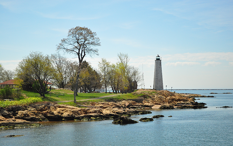 A lighthouse on the New Haven, Conn., coastline.