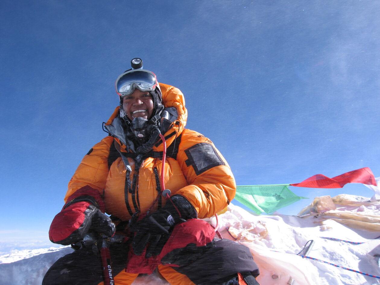 Sophia Danenberg on the summit of Mount Everest,