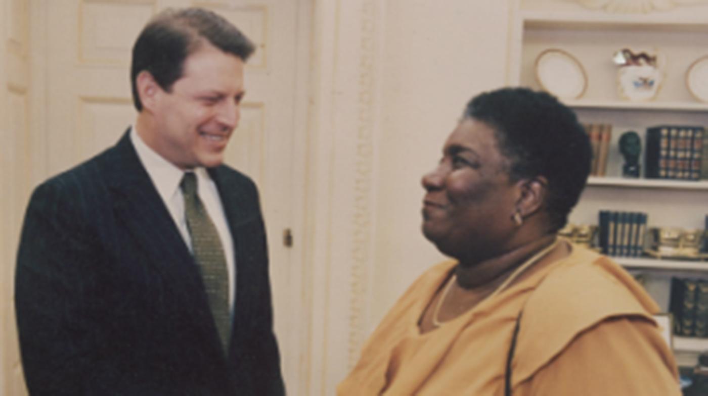 Hazel Johnson meeting Al Gore at the White House