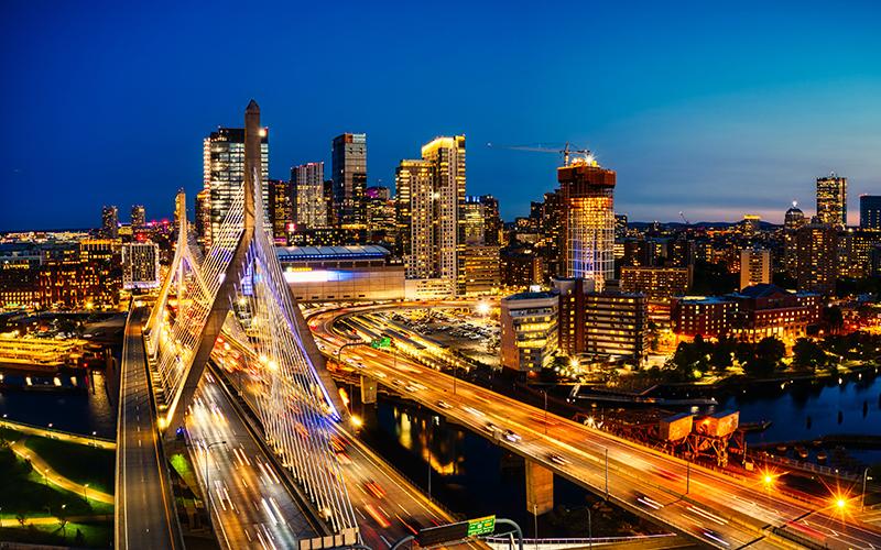 Boston Traffic and Skyline