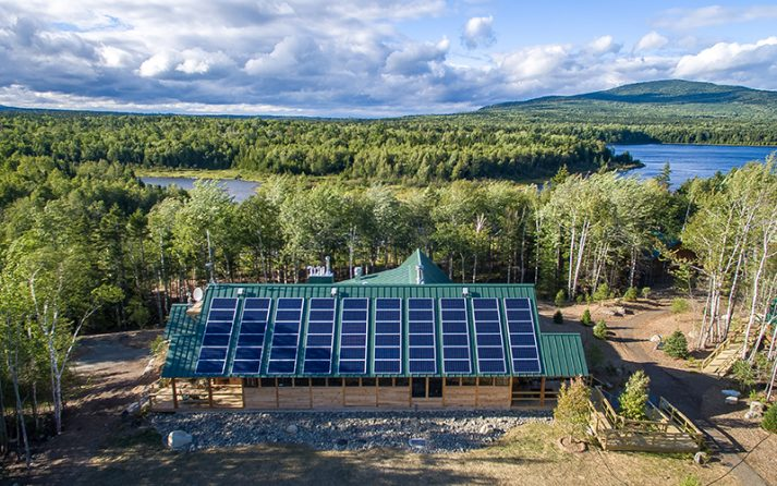 Solar power is in full effect at AMC's Medawisla Lodge and Cabins in Maine's 100-Mile Wilderness.