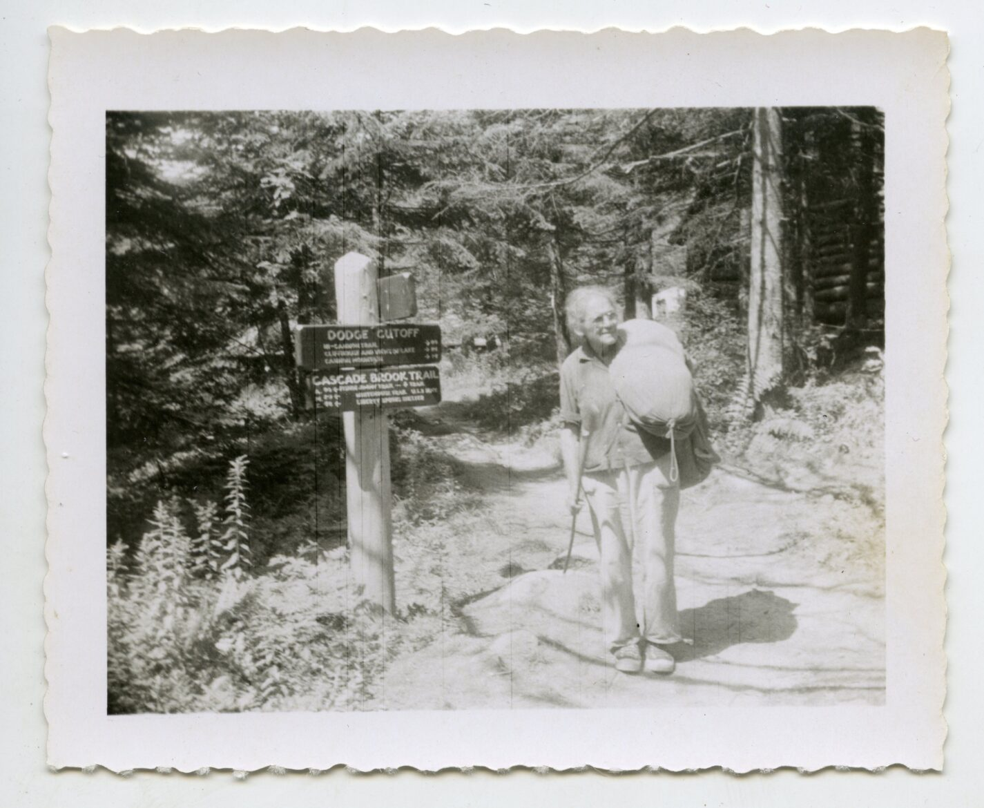 Emma Gatewood at Lonesome Lake on her second A.T. trip in 1957