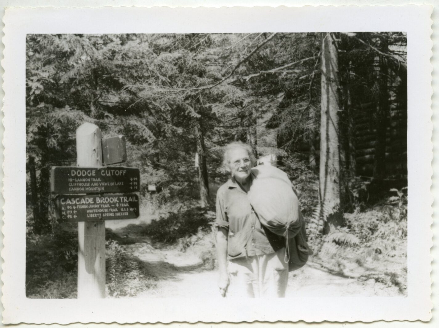 Emma Gatewood at Lonesome Lake on her second A.T. trip in 1957.