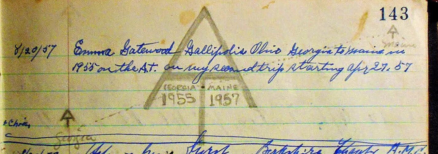 Emma Gatewood signed the Lonesome Lake Hut logbook on her second A.T. trip in 1957.