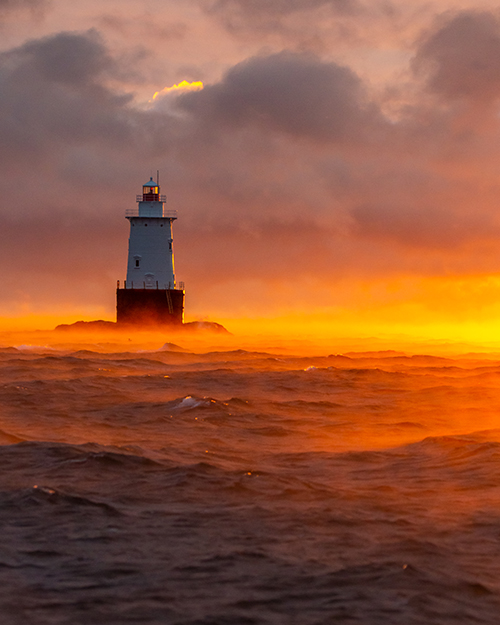 'Smokey Sakonnet Lighthouse Sunset'