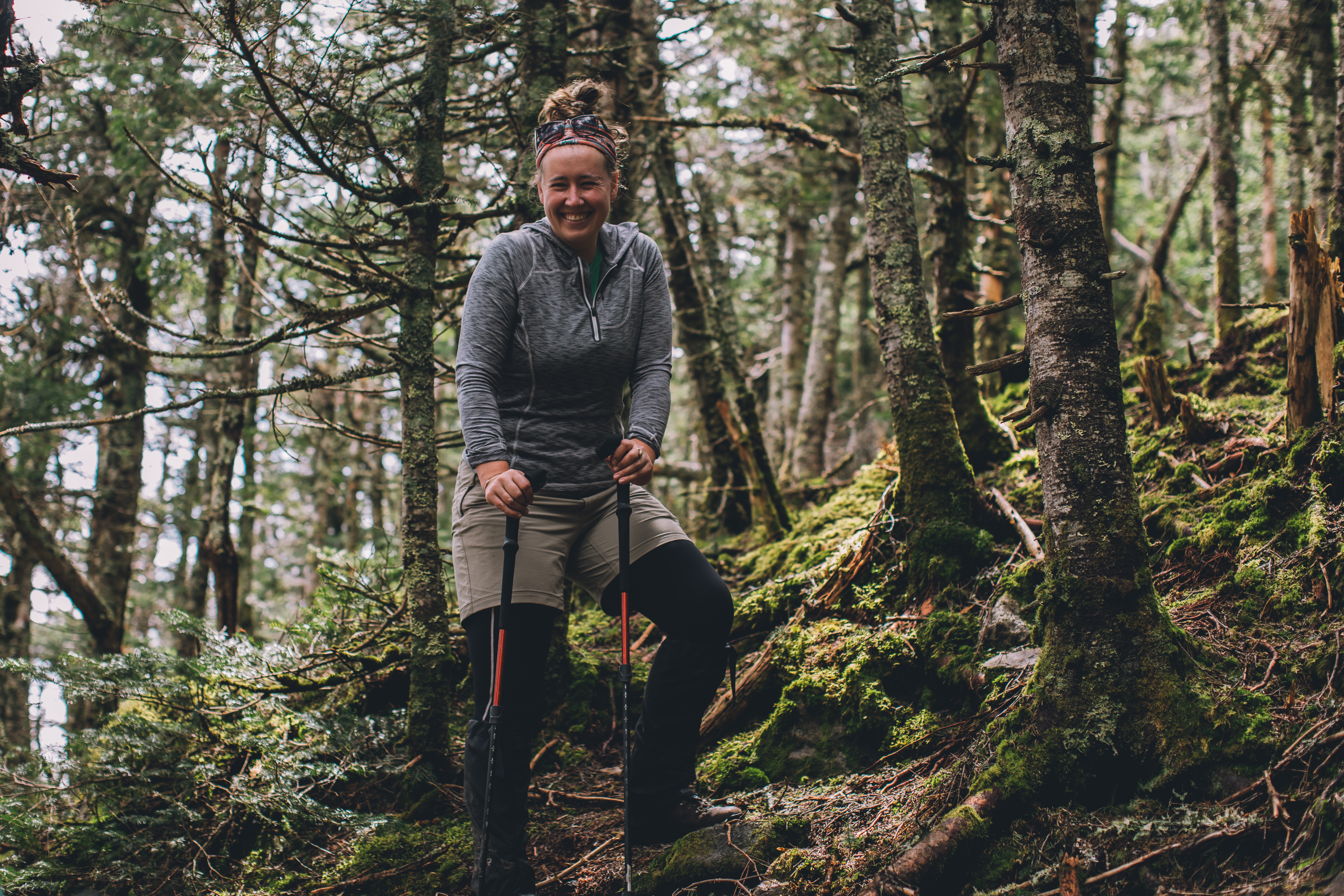 Woman hiking in Mountain National Forest, NH
